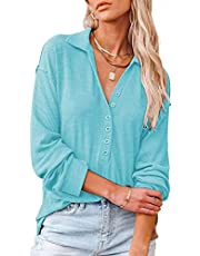 BDCUYAHSKL Herfst en Winter Dames Mode V-hals Effen Kleur Lange mouwen Pullover Losse Revers Single-Breasted Shirt Casual Top T-Shirt Vrouwen