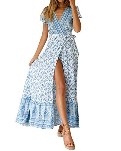- Women's Dresses Summer Wrap V Neck Floral Boho Beach Split Maxi Dress
