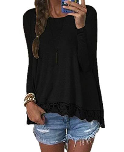 Rotondo Donne Jumper Cucitura Maglietta T Maglie a Tops Manica Collo Primavera Shirts Lunga e Casual Bluse Pizzo Moda Autunno Blouse Quotidiani AxwRCqBY