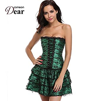 HITSAN Comeondear Pleated Green Corset Steampunk Dress Off Shoulder ...