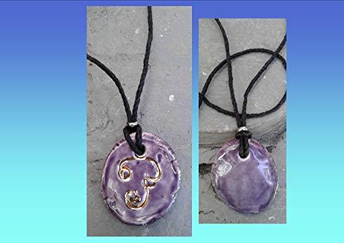 old Script Ceramic Pendant Purple Sacred Ohm Symbol Amulet ()