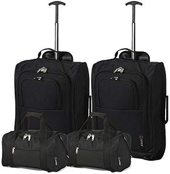 Oferta amazon: 5 Cities - Ryanair Cabin Approved Main & Second Hand Luggage - Carry On Both Equipaje de mano, 54 cm, 42 liters, Negro (Black), conjunto de 2 trolley y 2 bolsas (total: 4)