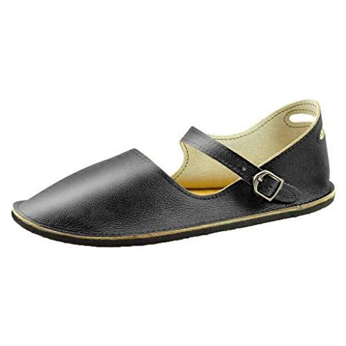 Toimothcn Women's Dress Sandals Roman Shoes Retro Buckle-Strap Sandals Student Flat Bottom -