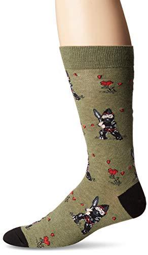 K. Bell Men's Classics Novelty Crew Socks, Garden Ninja Gnome (Green), Shoe Size: 6-12 ()