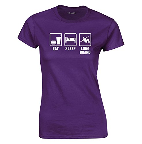 Eat Sleep Longboard, Algodón camiseta de las señoras, Púrpura/Blanco, S = 6-8
