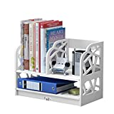 Rerii Desktop Storage Bookshelf, Wood & Plastic Composite Desktop Organizer, Small Bookcase, Desk Display Shelves for Home & Office