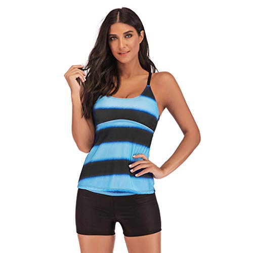Zlolia Women's Stripe Sling Tankinis Swimsuit Two-Piece Sleeveless Vest High Waist Swimwear Summer New Beach Surfwear Blue