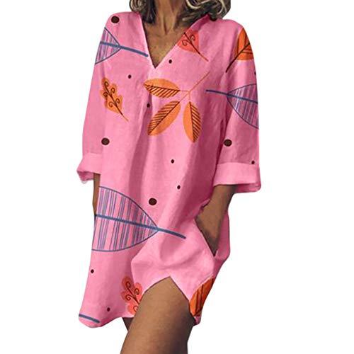 Dress Leaf Print Three Quarter Sleeve V-Neck Casual Summer Dress Mini Dress Women's (XXL,Hot Pink) ()