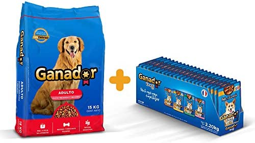 Ganador Bundle: 1 Ganador 15kg con 22 Ganador Recetas de 100 g c/u para Perros Adultos de Razas Medianas y Grandes, Azul 2