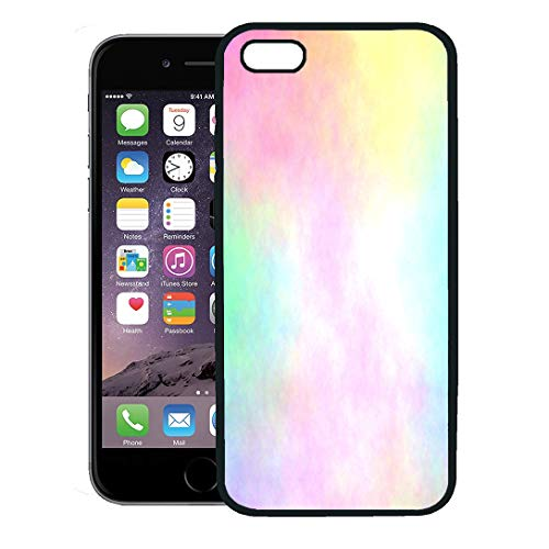 Semtomn Phone Case for iPhone 8 Plus case,Yellow Rainbow Pastel Watercolor Airbrush Blue Cyan Magenta Pale iPhone 7 Plus case Cover,Black