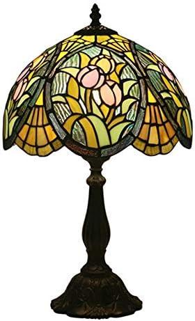 ベッドの横にコーヒーテーブルリビングルームアンティークデスク用花柄のティファニースタイルテーブルランプ高さ19インチ WELSUN (Size : Antique Zinc Base)
