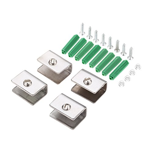 Glass Clamps 4Pcs Stainless Steel Square Clamp Holder Bracket Clip covid 19 (Steel Square Glass Clamp coronavirus)