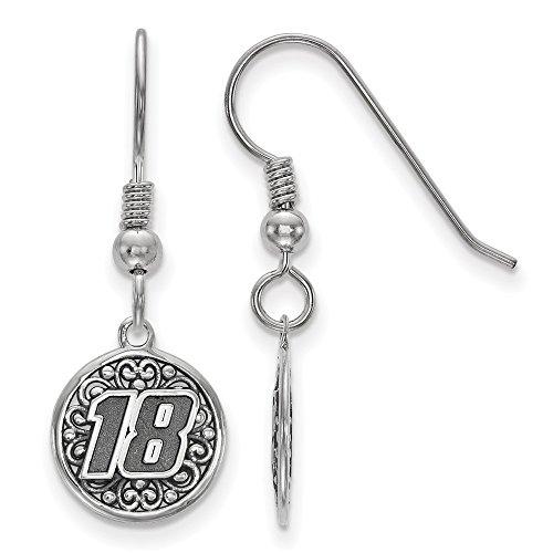 Sterling Silver Women's 18 Kyle Busch NASCAR Jewelry Earrings 12 mm 32 mm BALI TYPE ROUND EARRING IMPORT 18