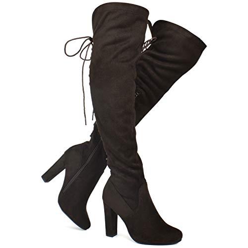 - Premier Standard - Women's Thigh High Stretch Boot - Trendy High Heel Shoe - Sexy Over The Knee Pullon Boot - Comfortable Easy Heel, TPS Booties-22Aloz Brown Size 8