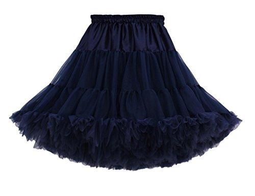 Femme Courte Tutu Jupe Tulle Jupon Sous Jupe au Genou Princesse Petticoat Underkirt Pettiskirt Navy
