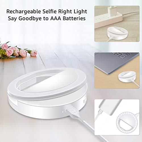 Fodizi Selfie Clip On Ring Light for Smart Phone Camera iPhone iPad Androids Vlogging on Instagram Facebook YouTube - 36 Rechargable LED Phone Light by Fodizi (Image #4)