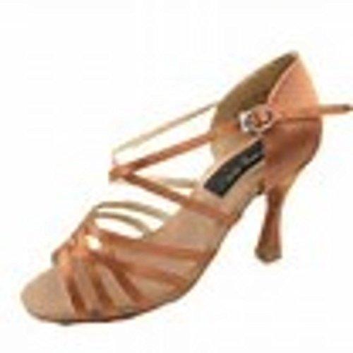Stephanie Elite Tan Satin Latin Chaussures De Danse De Salon E201 Taille 10 Avec 2,5 Pouces Talon