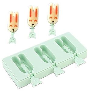 Ice Pop Maker, Silicone Cartoon Forma Cubetto di ghiaccio Maker vassoio Ice Bar Stampo per gelato Riutilizzabile Stampi… 2 spesavip
