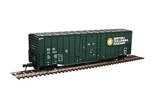 N GAUGE NSC 5277 50' Plug-Door Boxcar - Ready to Run -- British Columbia Railway #851010 (green, yellow, white, Dogwood Logo)