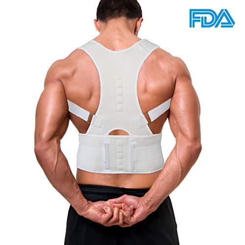 Back Brace,Aptoco Adjustable Magnetic Back Shoulder Support Brace for Posture Correction, Magnetic Therapy Upper Back Lumbar Support White Size M
