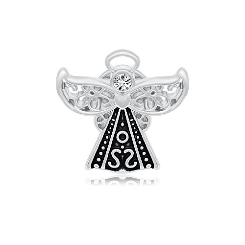 Small Angel Charm (SENFAI Guardian Angel Wings Crystal Small Heart Brooch Pin 3 Tone (Silver))