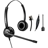 Telephone Headset Dual Ear Headphone Wired RJ9 Headsets with Microphone Noise Cancelling for Desk Phones