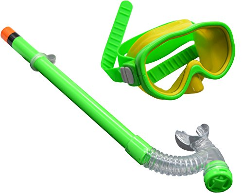 Swimming Goggles Snorkel Mask with Anti-fog Silicone Set (Green) - 2