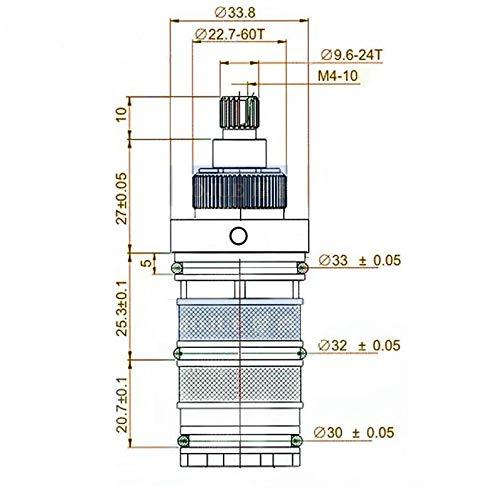Vanne de M/élanger Cartouche Thermostatique Valve de douche Kit de Cartouche de Rechange Contr/ôle Temperature T/ête de Douche pour Salle de Bain Baignoire