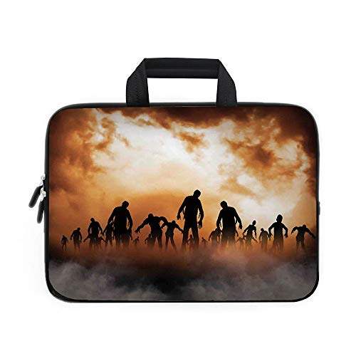 Halloween Decorations Laptop Carrying Bag Sleeve,Neoprene Sleeve Case/Zombies Dead Men Body in the Doom Mist at Night Sky Haunted Decor/for Apple Macbook Air Samsung Google Acer HP DELL Lenovo -
