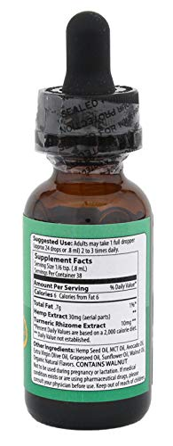 Hemp Extract Oil with Turmeric 1000mg, 30ml (Mitchell's Medicinals) for Pain, Anxiety & Stress Relief, Whole Plant Complex