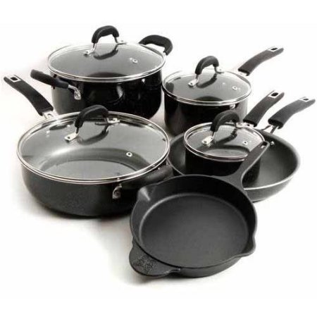 The Pioneer Woman Vintage Speckle 10-Piece Non-Stick Pre-Seasoned Cookware Set (Black)