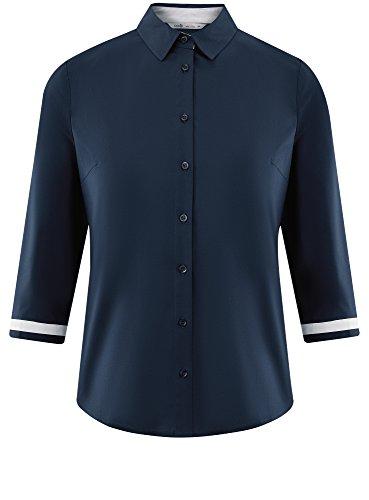 Bleu 4 oodji 7910b 3 en Ultra Manche Chemisier Femme Coton T8Wq6wRF8