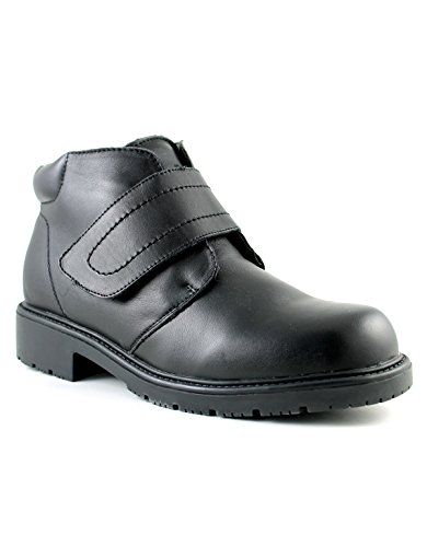 Mens mid cut Leather Winter Boot ALBERTO with Velcro and Faux Fur Lining