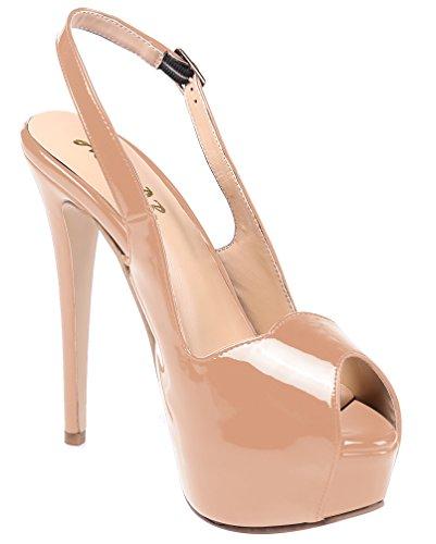 AOOAR Womens Slingback High Heels Party Pumps With Hidden Platform Beige Patent 16EUSAT