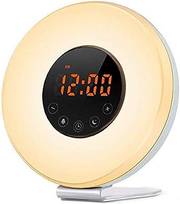 Alarma despertador despertador luz de amanecer y radio FM ...