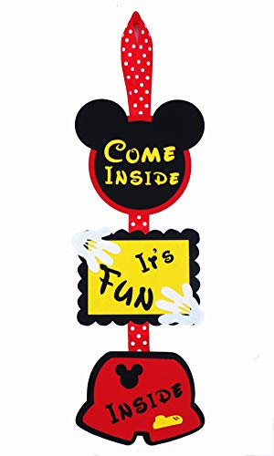 Mickey Mouse Birthday Door Sign - Welcome Hanger - Decorations - Supplies - Birthday banner - Come inside its fun inside]()