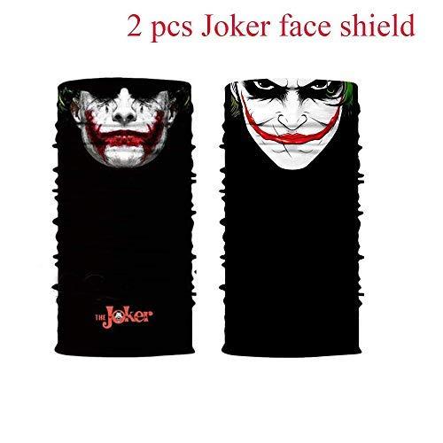 unbrand 2 PC Joker Face Sun Mask Multi-USE Balaclava Neck Gaiter Bandana UV for Fishing Motorcycles Hiking Hunting Outdoor Active (Bandana Joker)