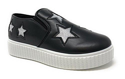 Pink Label Women's Slip-On Stylish Fashion Sneaker with Glitter Stars in Black Size: 11