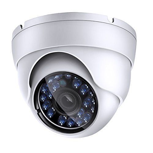 1200tvl CCTV Dome Security Camera, Day Night Vision 24 Ir LEDs Outdoor Indoor Weatherproof Wide Angle 3.6mm Lens for Analog Video Surveillance Cameras System ()