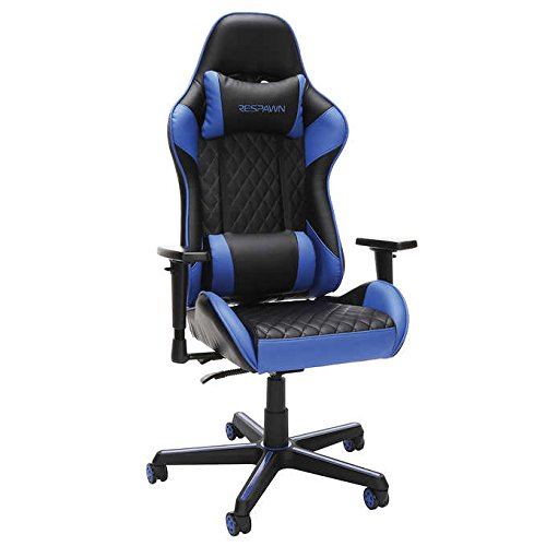 Respawn Racecar-Style Gaming Swivel Chair in Black/Blue, Adjustable Armrests and Headrest, Seat Height Adjustment, SofThread Bonded Leather Upholstery and Angle Lock Reclining Features OFM