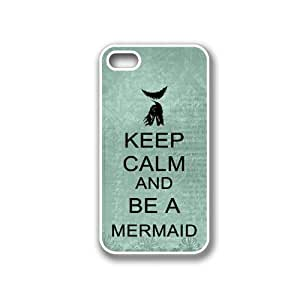 Keep Calm And Be A Mermaid Teal Floral - Protective Designer WHITE Case - Fits Apple iPhone 4 / 4S / 4G