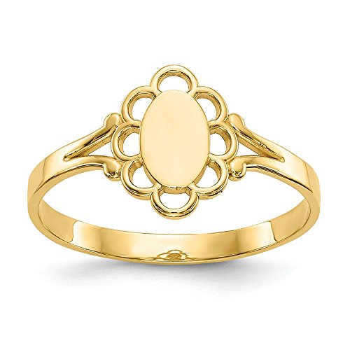 14k Yellow Gold Filigree Oval Center Baby Signet Band Ring Size 4.25 Fine Jewelry Gifts For Women For ()