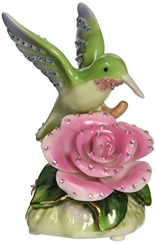 Cosmos 58041 Fine Porcelain Hummingbird with Rose Musical Figurine, 3-1/2-Inch
