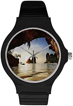Natural Cave Decorations Utility Unisex Round Plastic Watch,Water Eroded Reed Flute Cave Chinese Cistern Rain Harvest with Artsy Photo for Daily,Case Diameter : 37mm