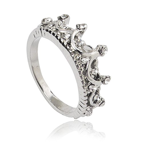 Jane Stone Fashion Princess Crown Ring for Women Silver Plated Zirconia (R0023)(R0023) (Princess Costumes For Teens)