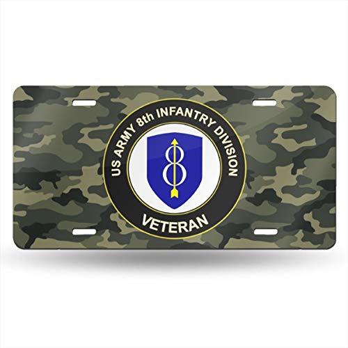 KARCARTAG US Army 8th Infantry Division Veteran Novelty License Plate Tag Sign Car ()