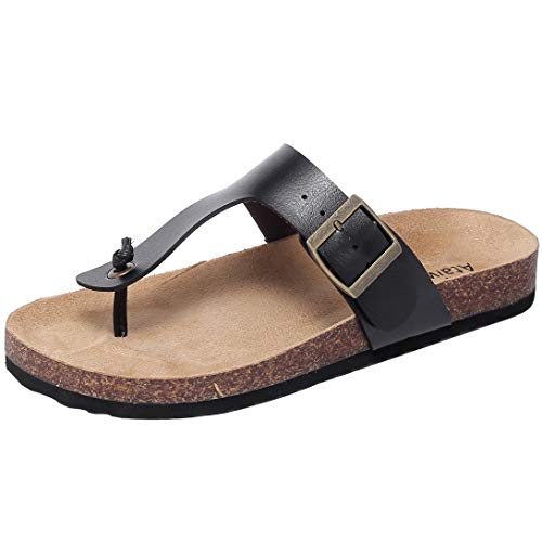 Ataiwee Womens Flat Sandals Comfortable Casual Slip On Flip Flop Thong Sandals Summer Shoes.(1903015 BlackPU 10)