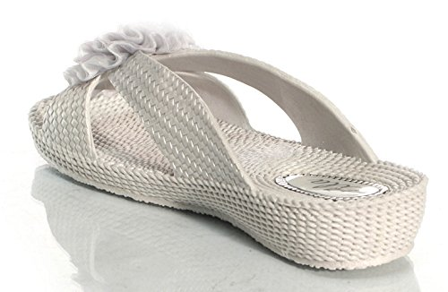 Womens Ladies flor Mules soporte de verano sandalias Ella Nicky Silver without Diamonds