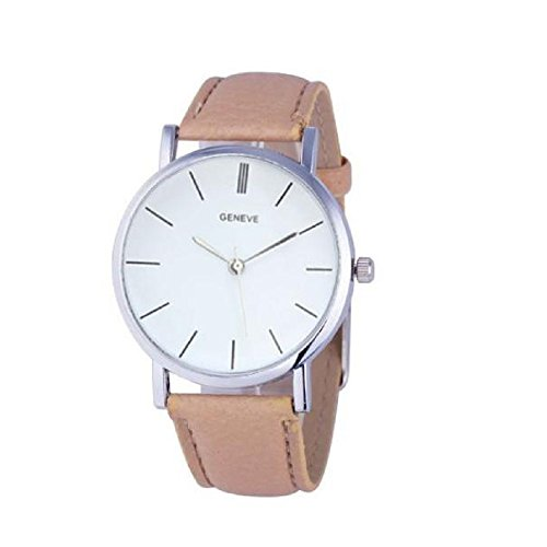 Date Platinum Ring (AmyDong Women's Retro Design Leather Band Alloy Quartz Watch)