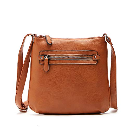 Women's Leather Shoulder Bags Splice Corssbody Bag Handbag Fashion Vintage Tassel Big Capacity Tote Shoulder Bags (One_Size, Brown)